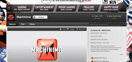 Page d'accueil de Machinima.com